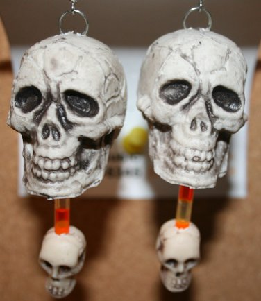 Large with Small Skull Glow in the Dark Ear Rings (Halloween)