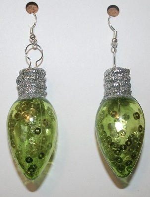 Green Glow in the Dark Christmas Bulb Ear Rings