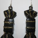 Halloween Candy Ear Rings Black and Gold