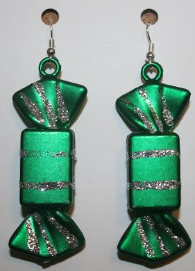 Christmas Candy Ear Rings (Rectangle) Green and Silver