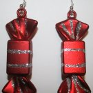 Christmas Candy Ear Rings (Rectangle) Red and Silver