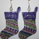 Christmas Stocking Ear Rings (DIfferent Colors) (Word - Jingle)
