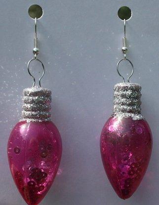Pink Glow in the Dark Christmas Bulb Ear Rings