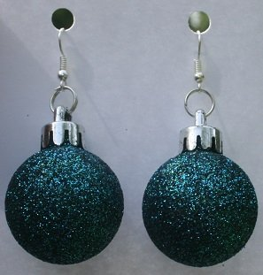 Blue Round Christmas Ornament Ear Rings (Glitter)