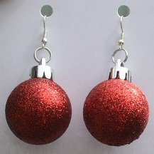 Red Round Christmas Ornament Ear Rings (Glitter)