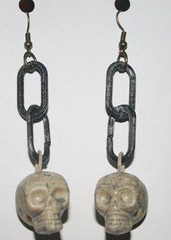Halloween Skulls hanging on Chains Ear Rings