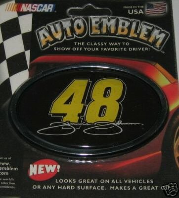 Jimmie Johnson NASCAR 3-D Color Chrome Auto Car Emblem Gift