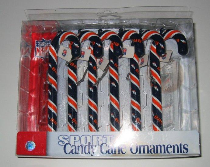 Denver Broncos Candy Cane Christmas Tree Ornament Set Gift