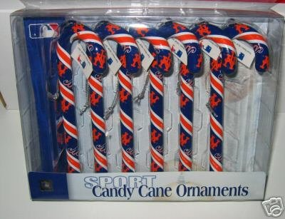 New York Mets Candy Cane Christmas Tree Ornament Set Gift