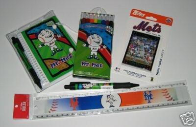 New York Mets Kids Gift Asst. School Supplies w/ 2007 Topps Team Set