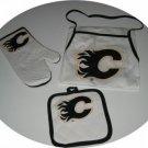 Calgary Flames Tailgate BBQ 3pc Set Mitt Apron Gift