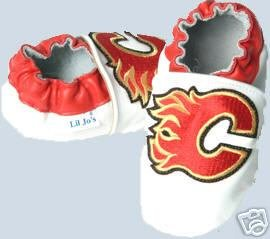Calgary Flames Leather Baby Shoes Booties 6-12 Months