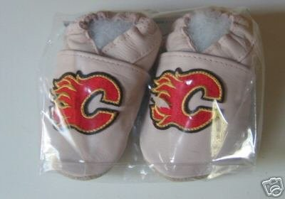 Calgary Flames PINK Leather Baby Shoes Booties 0-6 Months Gift