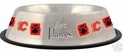 Calgary Flames Pet Dog 32oz Stainless Steel Bowl Gift