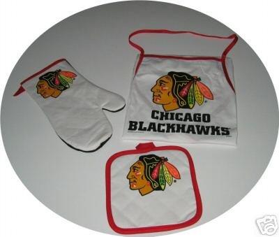 Chicago Blackhawks Tailgate BBQ 3pc Set Mitt Apron Gift