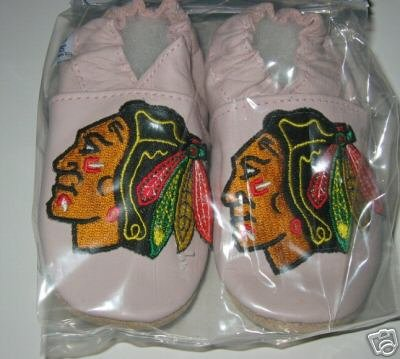 Chicago Blackhawks PINK Leather Baby Shoes Booties 0-6 Months