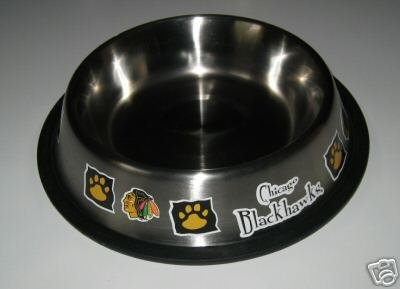Chicago Blackhawks 32oz Stainless Steel Pet Dog Food Water Bowl Gift