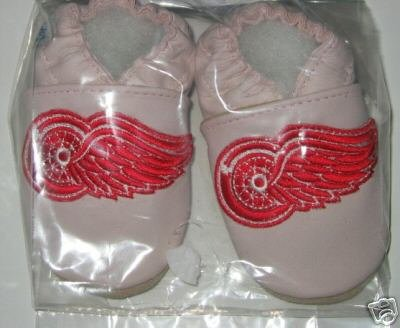 Detroit Red Wings PINK Leather Baby Shoes Booties Gift