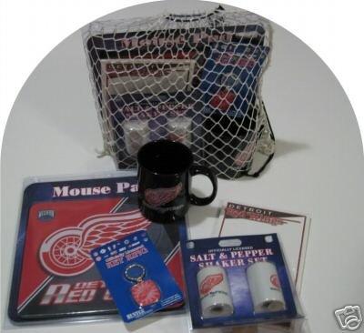 Detroit Red Wings 5pc Hockey Gift Net Basket