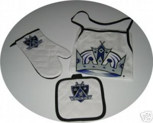 Los Angeles Kings 3pc BBQ Tailgate Set Apron Mitt Gift