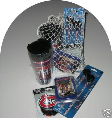 Montreal Canadiens 4pc Hockey Gift Net Basket Travel Mug