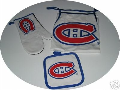 Montreal Canadiens 3pc BBQ Tailgate Set Apron Mitt Gift