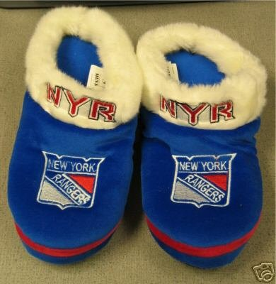 New York Rangers Fuzzy Slide On Slippers Gift Small