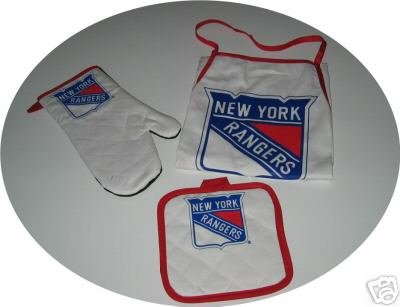 New York Rangers 3pc BBQ Tailgate Set Apron Mitt Gift