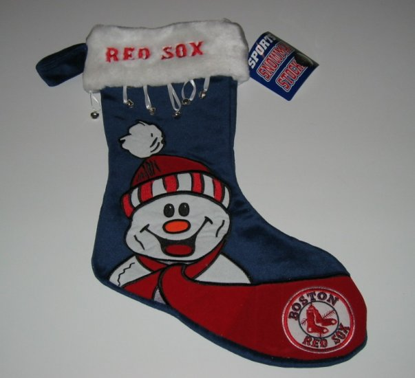 Boston Red Sox Snowman Christmas Stocking w/Bells Gift