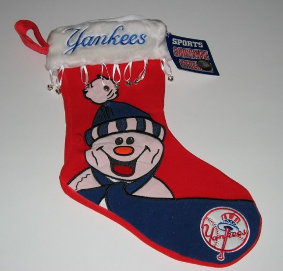 New York Yankees Snowman Christmas Stocking w/Bells Gift