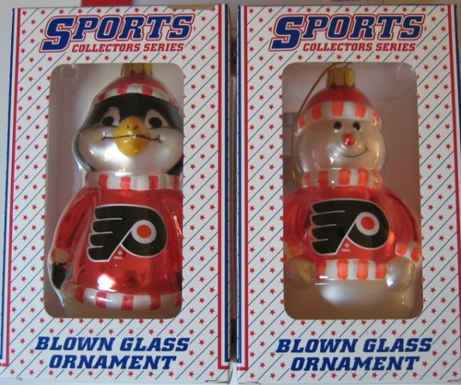 Philadelphia Flyers Blown Glass Snowman & Penguins Christmas Tree Ornament Set Gift