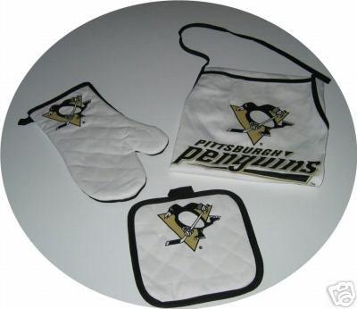 Pittsburgh Penguins 3pc BBQ Tailgate Set Apron Mitt Gift