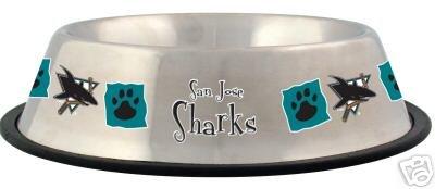 San Jose Sharks 32oz Stainless Steel Pet Dog Food Water Bowl Gift