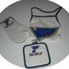 St. Louis Blues 3pc BBQ Tailgate Set Apron Mitt Gift