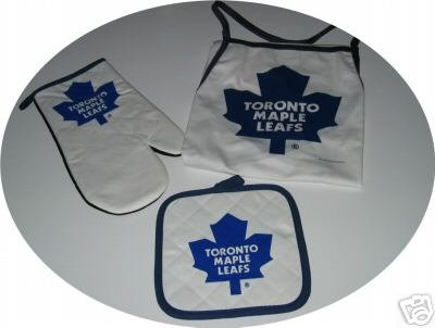Toronto Maple Leafs 3pc BBQ Tailgate Set Apron Mitt Gift
