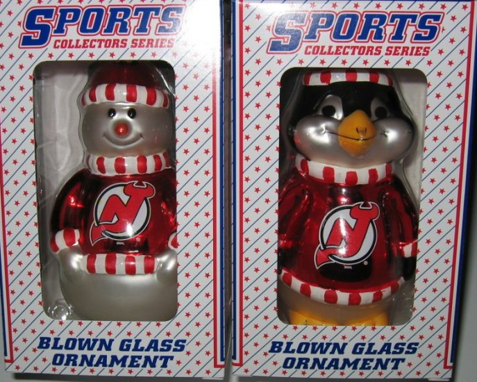 New Jersey Devils Blown Glass Snowman & Penguin Christmas Tree Ornament Set Gift