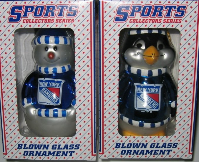 New York Rangers Glass Snowman & Penguins Christmas Tree Ornament Set Gift
