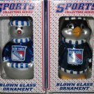 New York Rangers Glass Snowman & Penguins Christmas Tree Ornament Set Gift