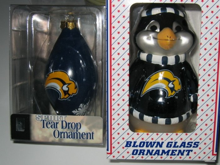 Buffalo Sabres Glass Penguin & Tear Drop Christmas Tree Ornament Set Gift