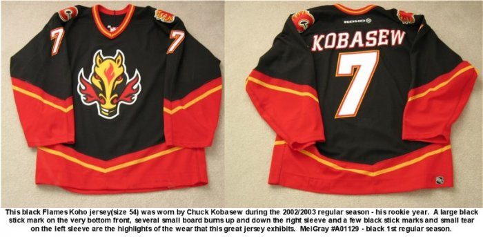 02/03 Chuck Kobasew Calgary Flames Game Worn ROOKIE  Jersey MeiGray COA