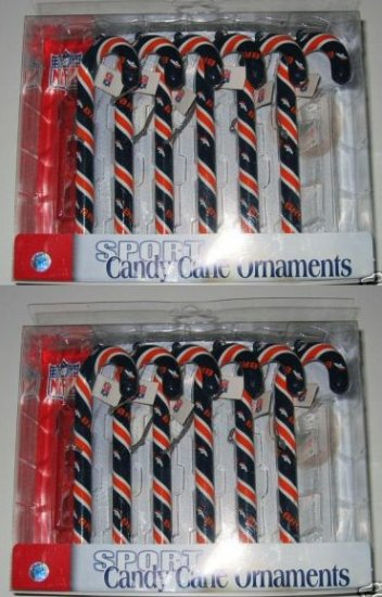 2 Sets Denver Broncos Candy Cane Christmas Ornaments Gift