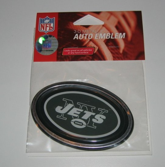 New York Jets 3-D Color Chrome Auto Car Emblem Gift