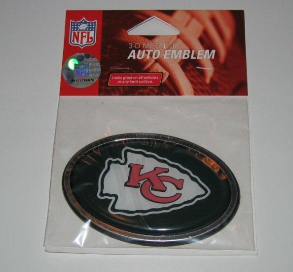 Kansas City Chiefs 3-D Color Chrome Auto Car Emblem Gift