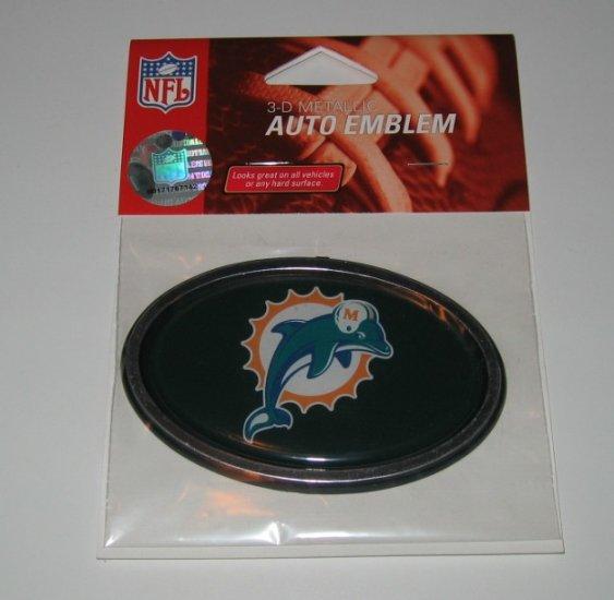 Miami Dolphins 3-D Color Chrome Auto Car Emblem Gift
