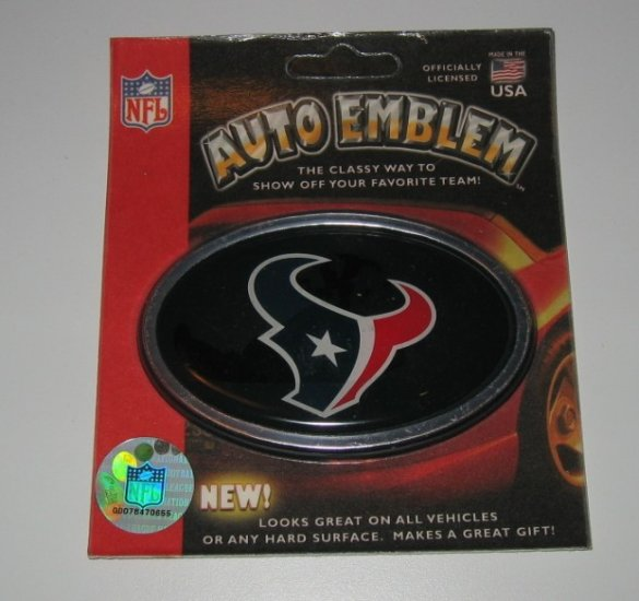Houston Texans 3-D Color Chrome Auto Car Emblem Gift
