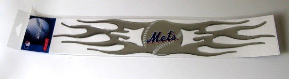 New York Mets Auto Car Chrome Graphic Emblem Flames Gift