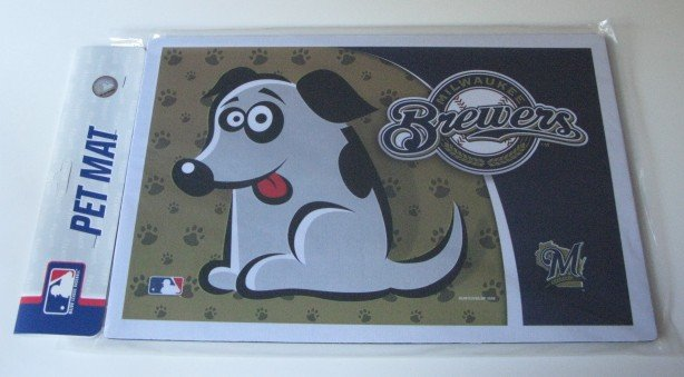 Milwaukee Brewers Dog Pet Food/Water Padded Mat Placemat Gift