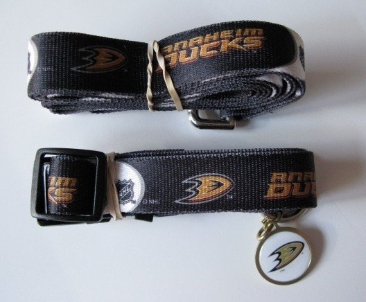 Anaheim Ducks Pet Dog Leash Set Collar ID Tag Gift Size Medium