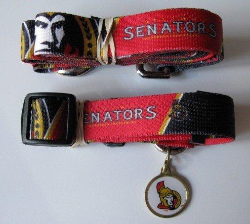 Ottawa Senators Pet Dog Leash Set Collar ID Tag Small