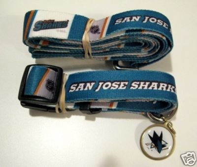 San Jose Sharks Pet Dog Leash Set Collar ID Tag Small